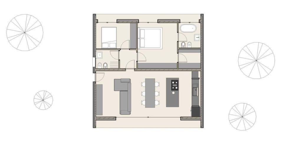 Pianta di casa ad un piano di 90 mq