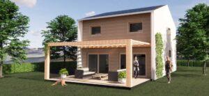 Una casa in legno a due pinai