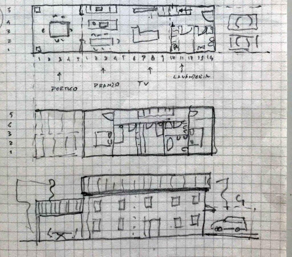 Pianta e prospetto di casa in legno